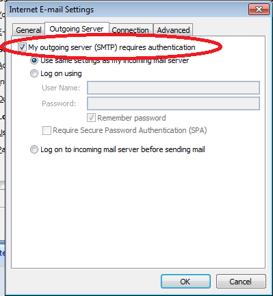 Outgoing server (SMTP) requires authentication